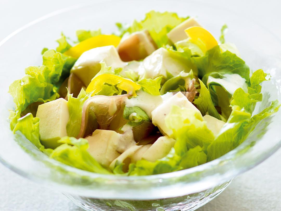 豆腐のレモンドレッシングサラダ