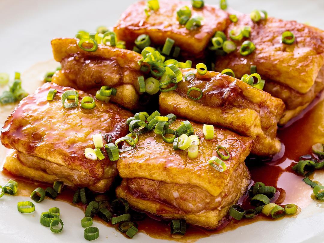 豆腐のひき肉はさみ照り焼き