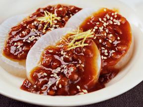 レンジ蒸し大根の納豆味噌田楽