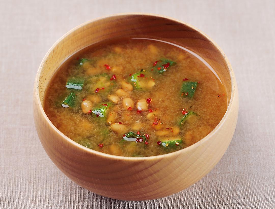 おくら納豆味噌汁