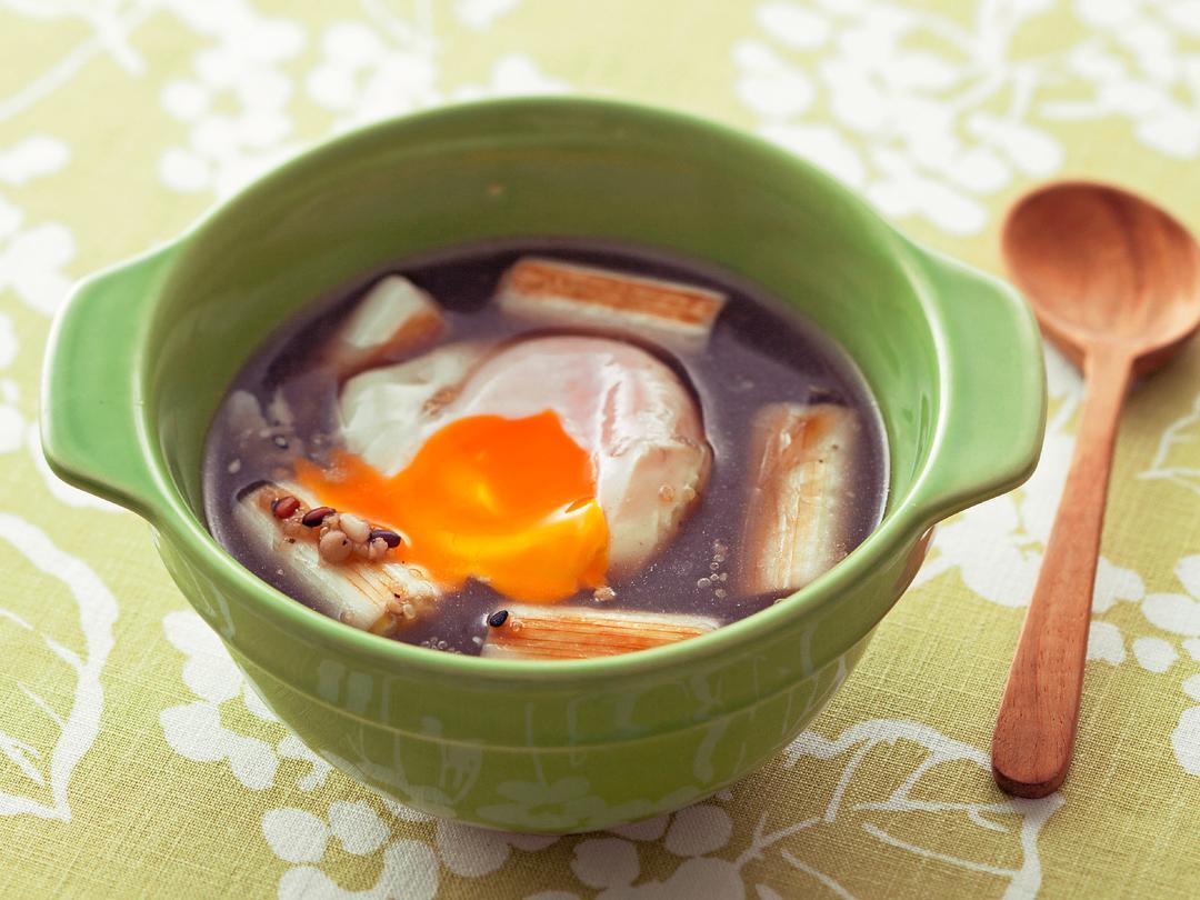 焼きねぎと十六穀米の卵スープ