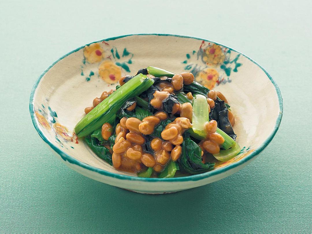 小松菜とのりの納豆和え