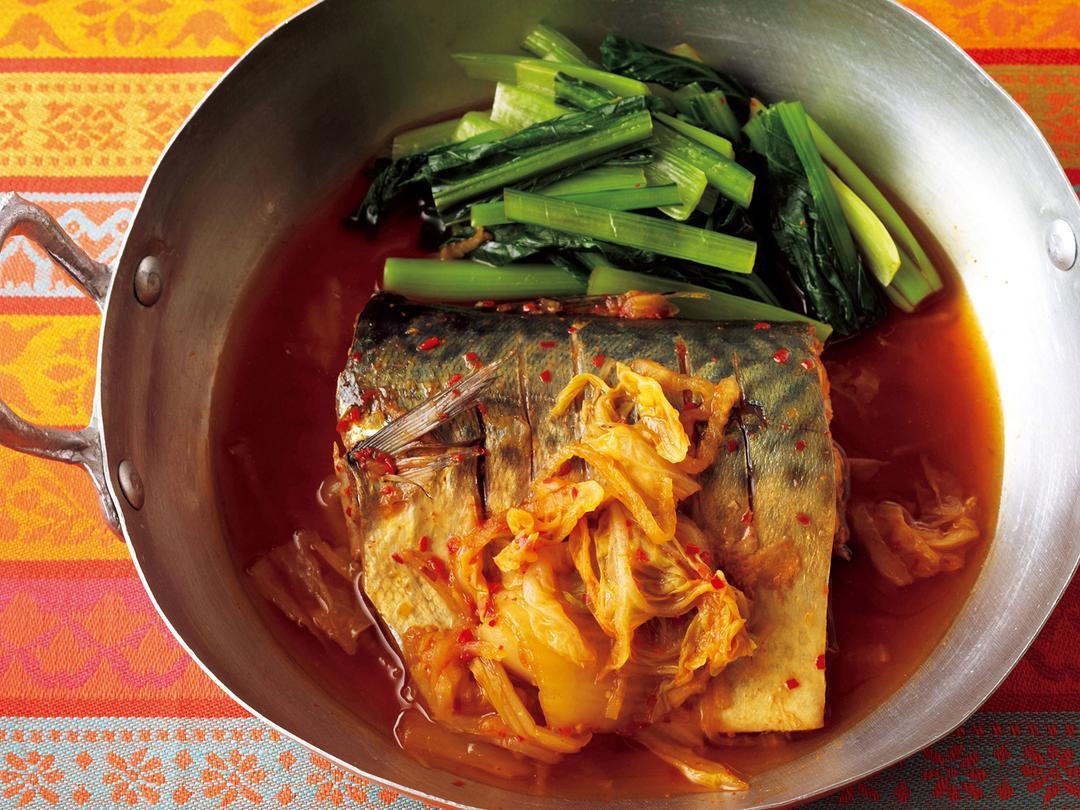 さばと小松菜のキムチ煮