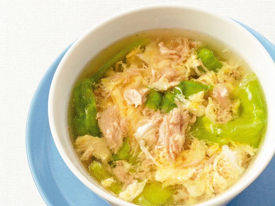 シーチキンとレタスの中華卵スープ