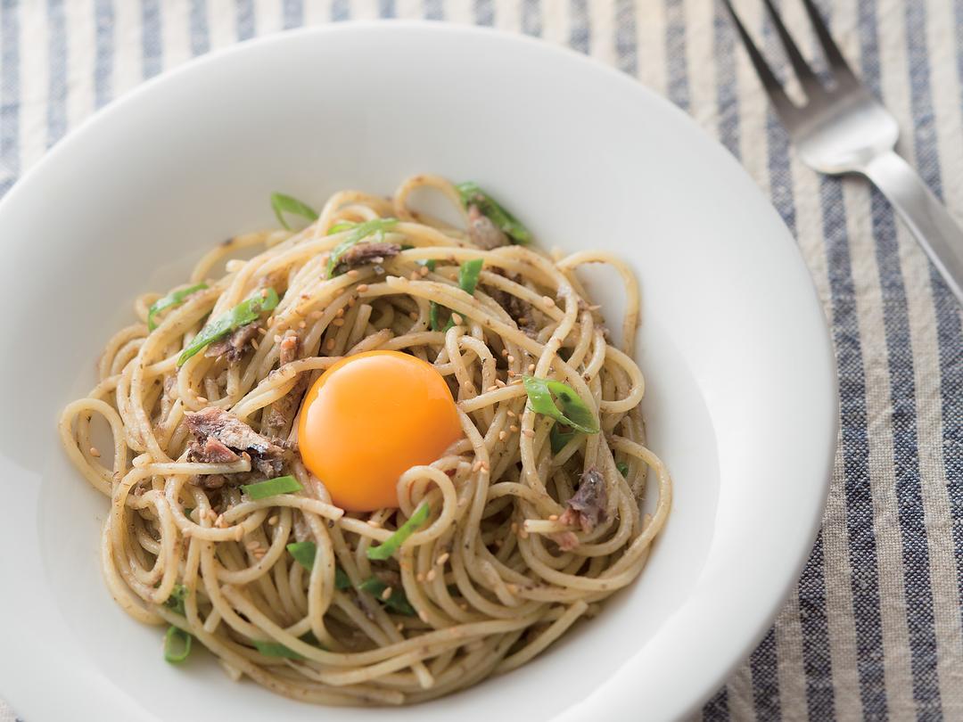オイルサーディンと青ねぎのスパゲティー