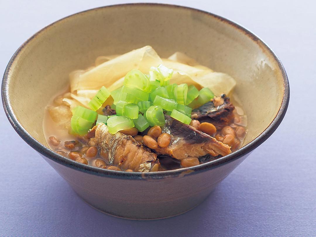 いわし缶の納豆煮
