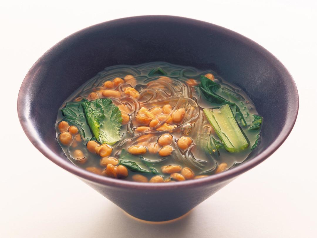 ピリ辛納豆春雨スープ