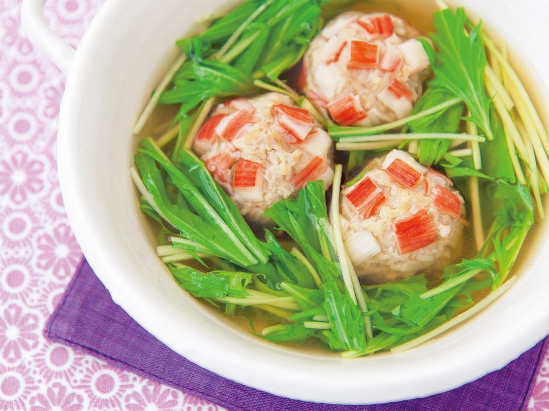 かにかま鶏団子と水菜のスープ