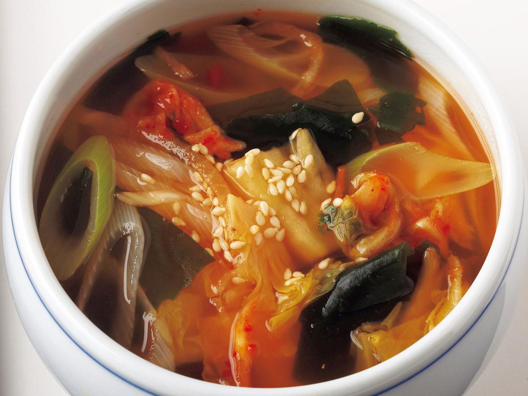 ねぎわかめキムチスープ