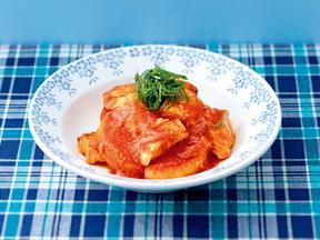焼き大根とサケのトマトみそ煮