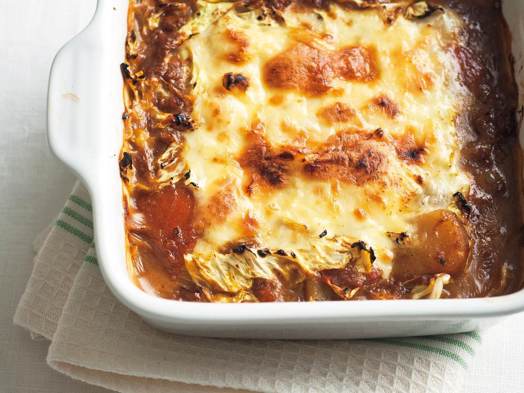 キャベツカレーチーズの重ね焼き