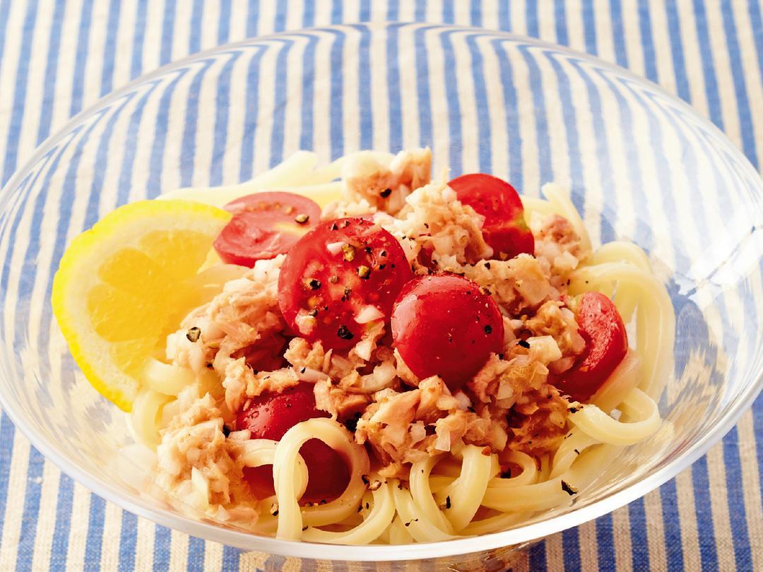 シーチキンの冷製トマトうどん