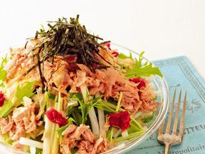 大根と水菜の梅風味かつのりサラダ